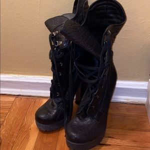 Black lace up boots used